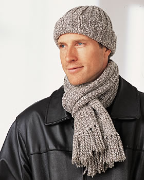 Men's Winter Hat and Scarf Knitting Pattern
