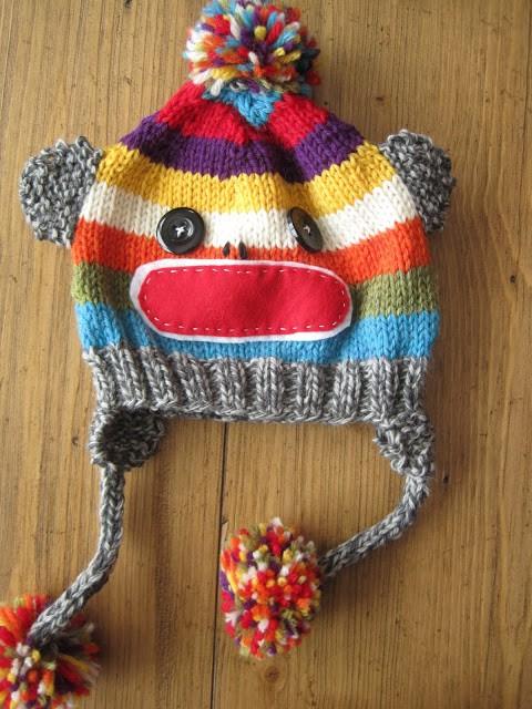 Multicolor Sock Monkey Hat Knitting Pattern
