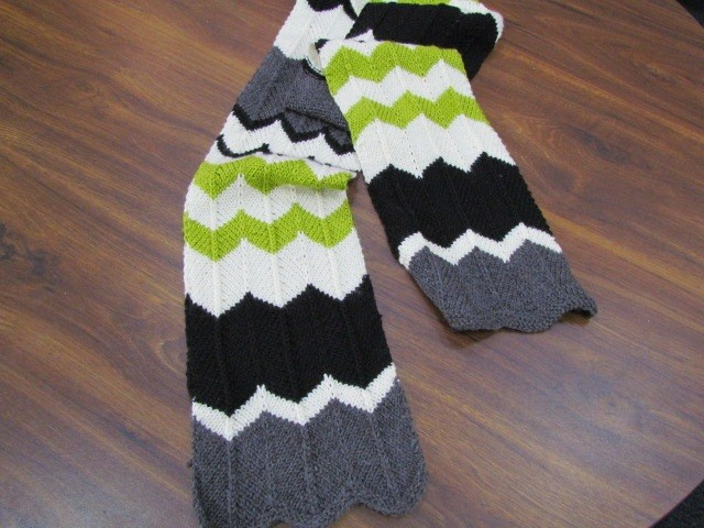 Multicolored Chevron Scarf Knitting Pattern