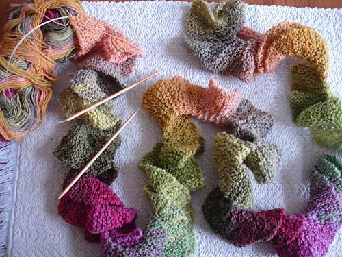 Multicolored Potato Chip Scarf Knit Pattern