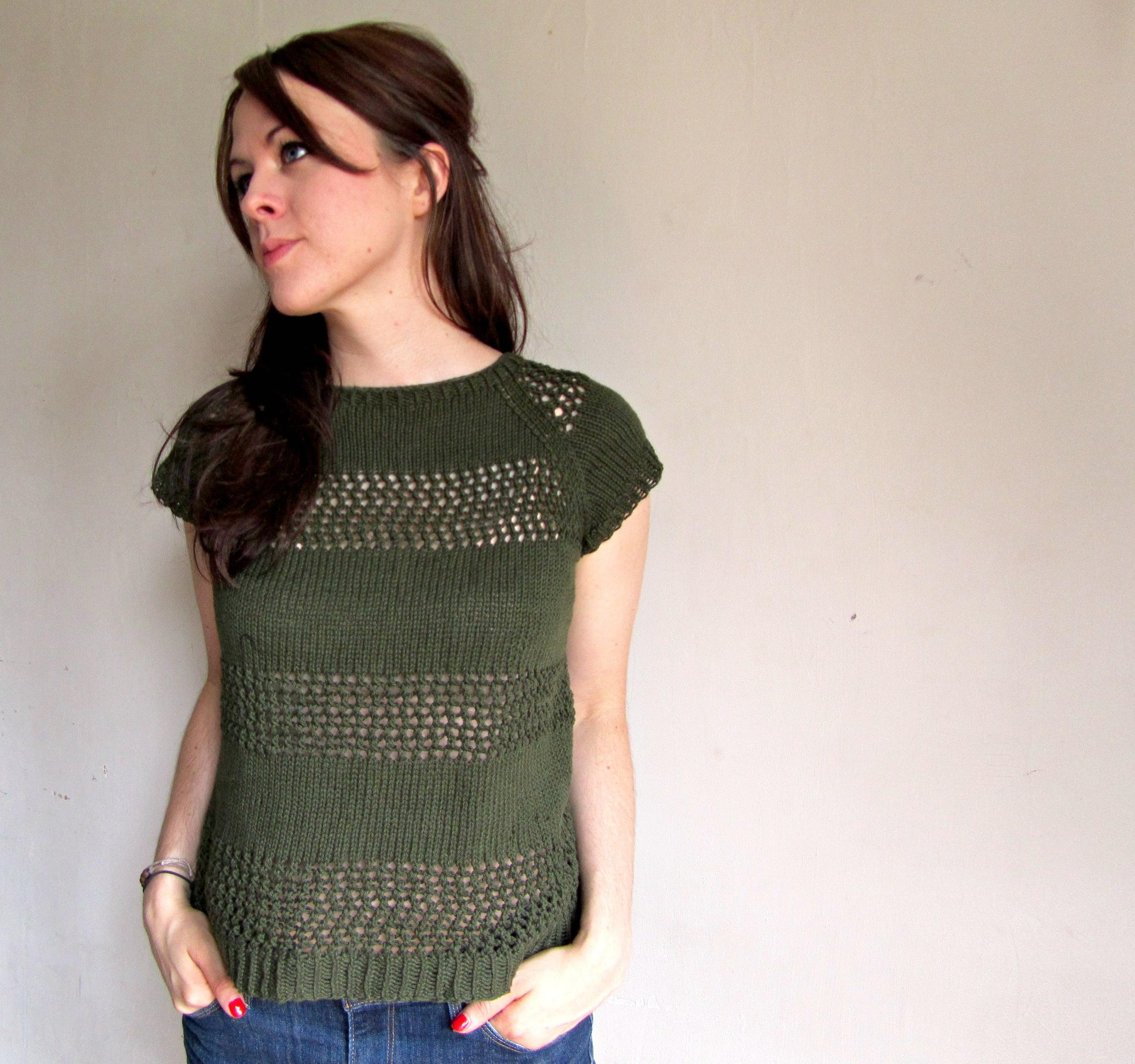 Open-Knit Striped Sweater Sweater Pattern
