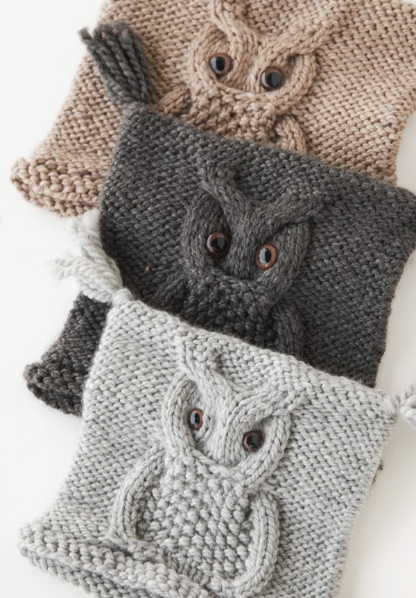 Owl Hat with Buttoned Eyes Knitting Pattern