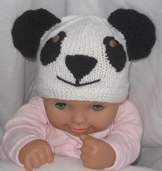 Panda Beanie Hat Knitting Pattern
