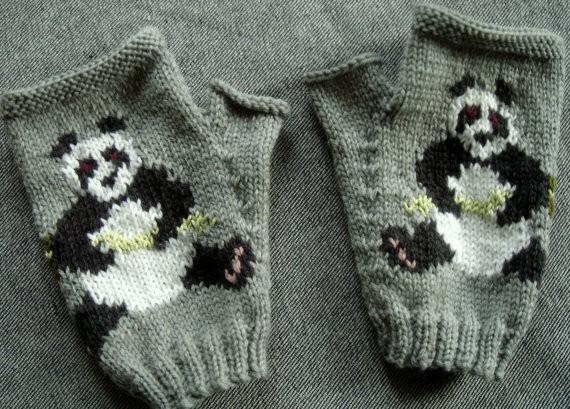 Panda Mitten Knitting Pattern