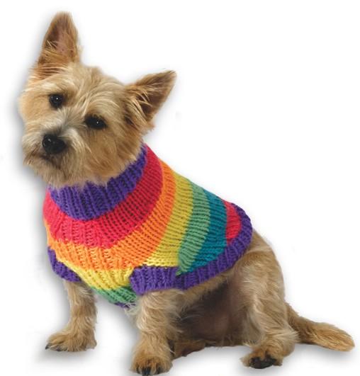Rainbow Dog Sweater Knitting Pattern