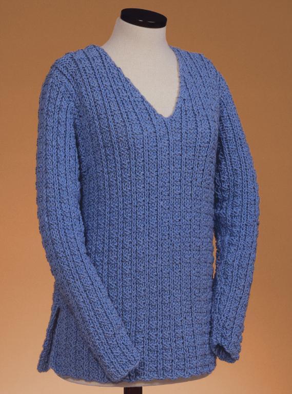 Rib V-Neck Pullover Knitting Pattern