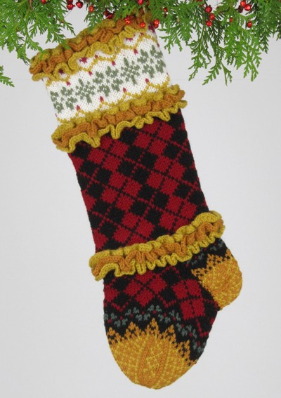 Pictures of Ruffled Argyle Christmas Stocking Knitting Pattern