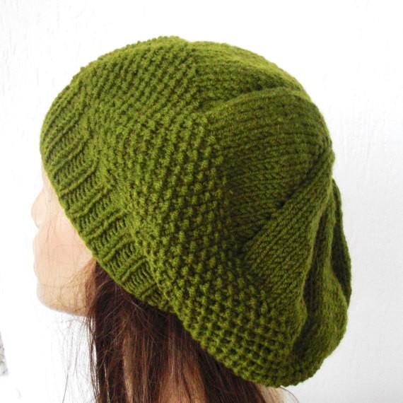 Seed Stitch Beret Hat Knit Pattern