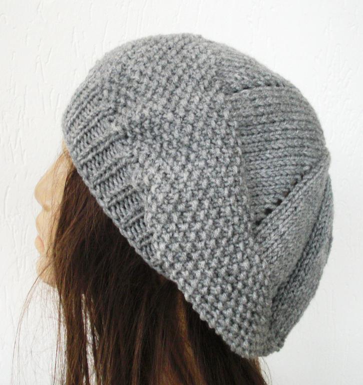 Seed Stitche Beret Knit Hat Pattern