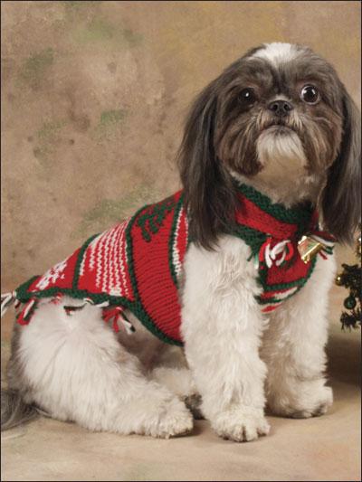 Snowflakes & Tree Dog Sweater Knitting Pattern