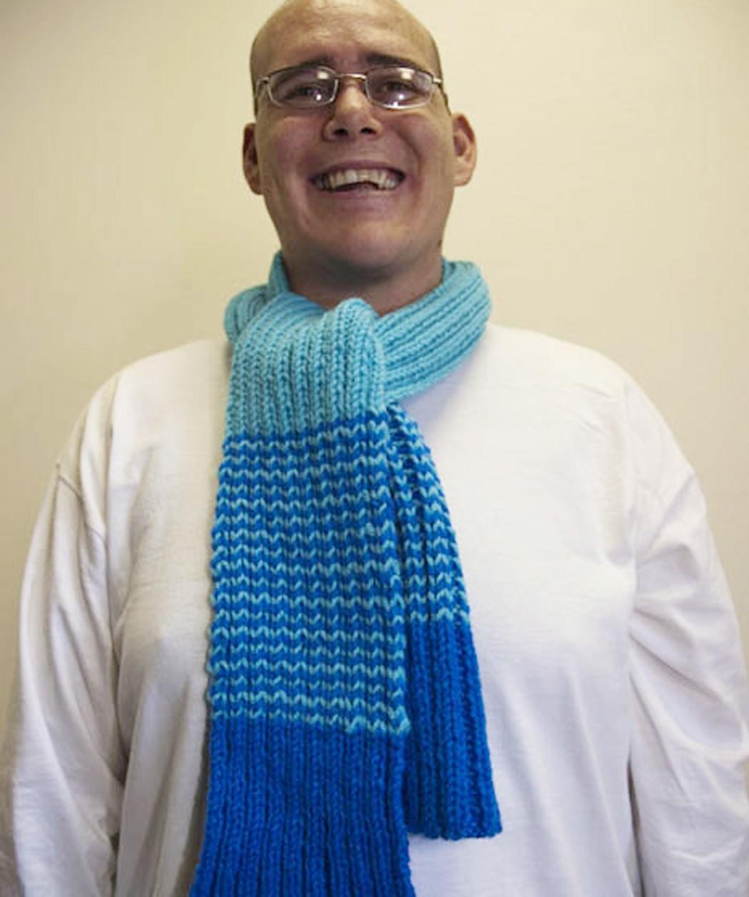 Striped Rib Knit Scarf Pattern Tutorial