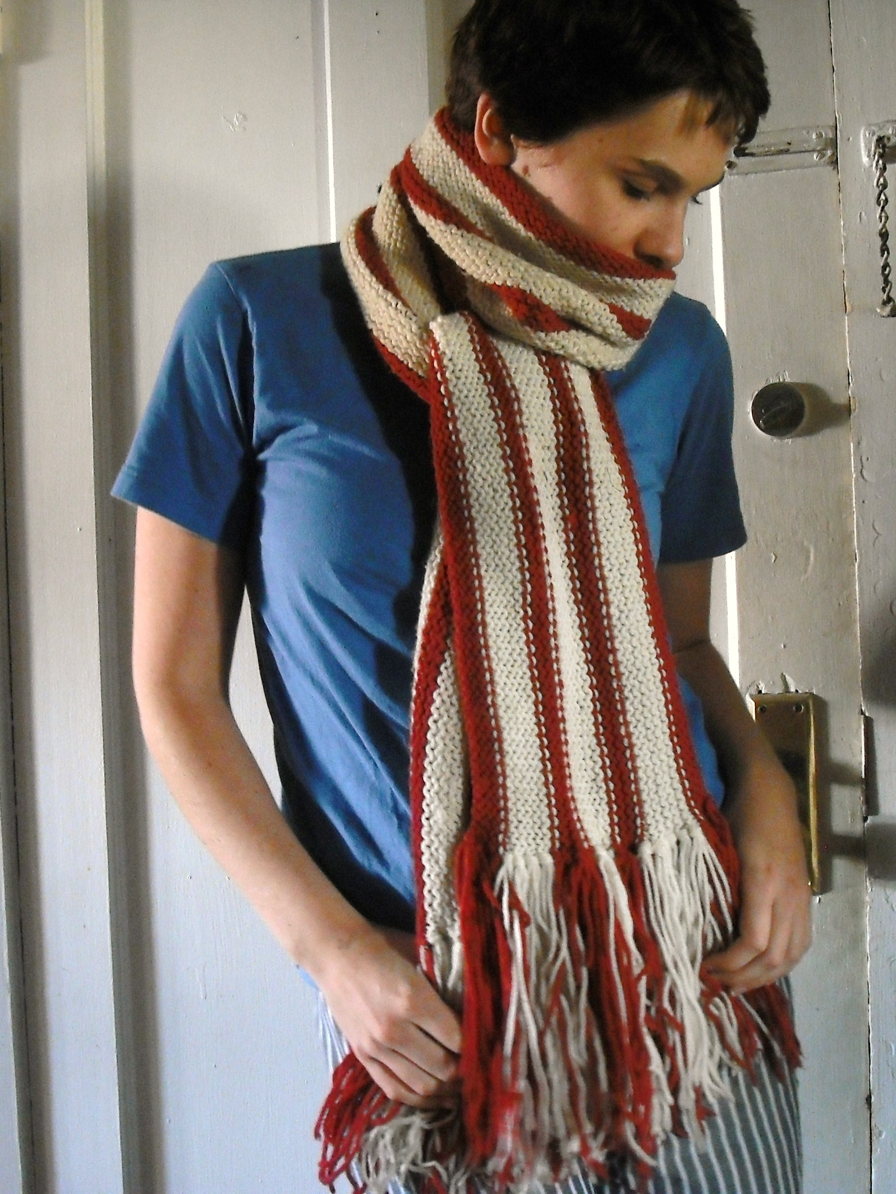 Stripped Knitting Scarf Pattern Instruction