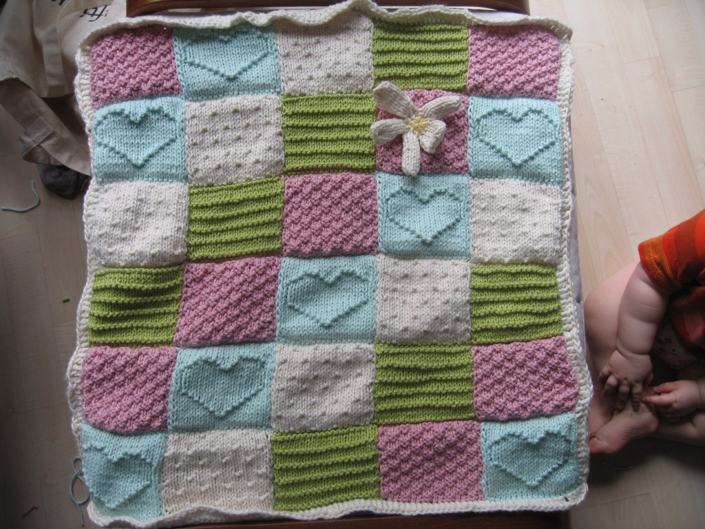 Textured Block Baby Blanket Heart Knitting Pattern