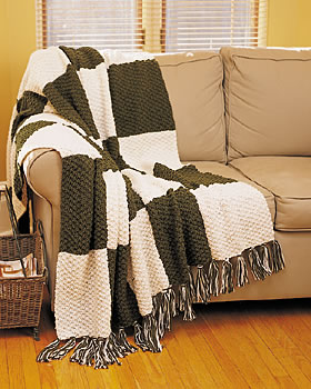 Textured Block Knitted Afghan Pattern