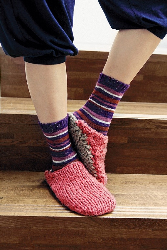Two Color Knitted Slipper Pattern
