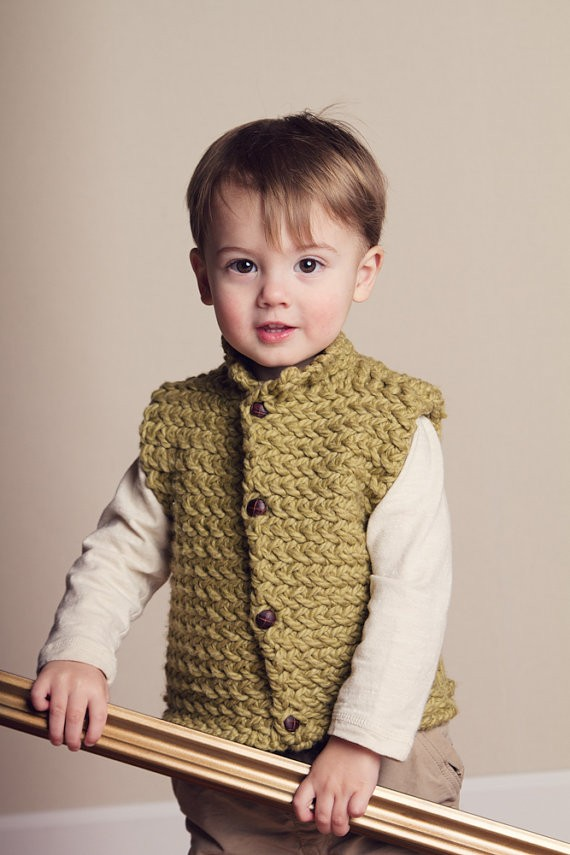 Images of Unisex Vest Herringbone Knitting Pattern