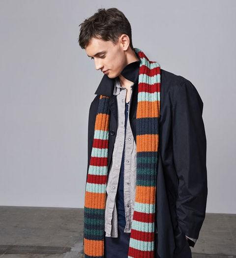Woolly Stripped Rib-Knit Scarf Pattern