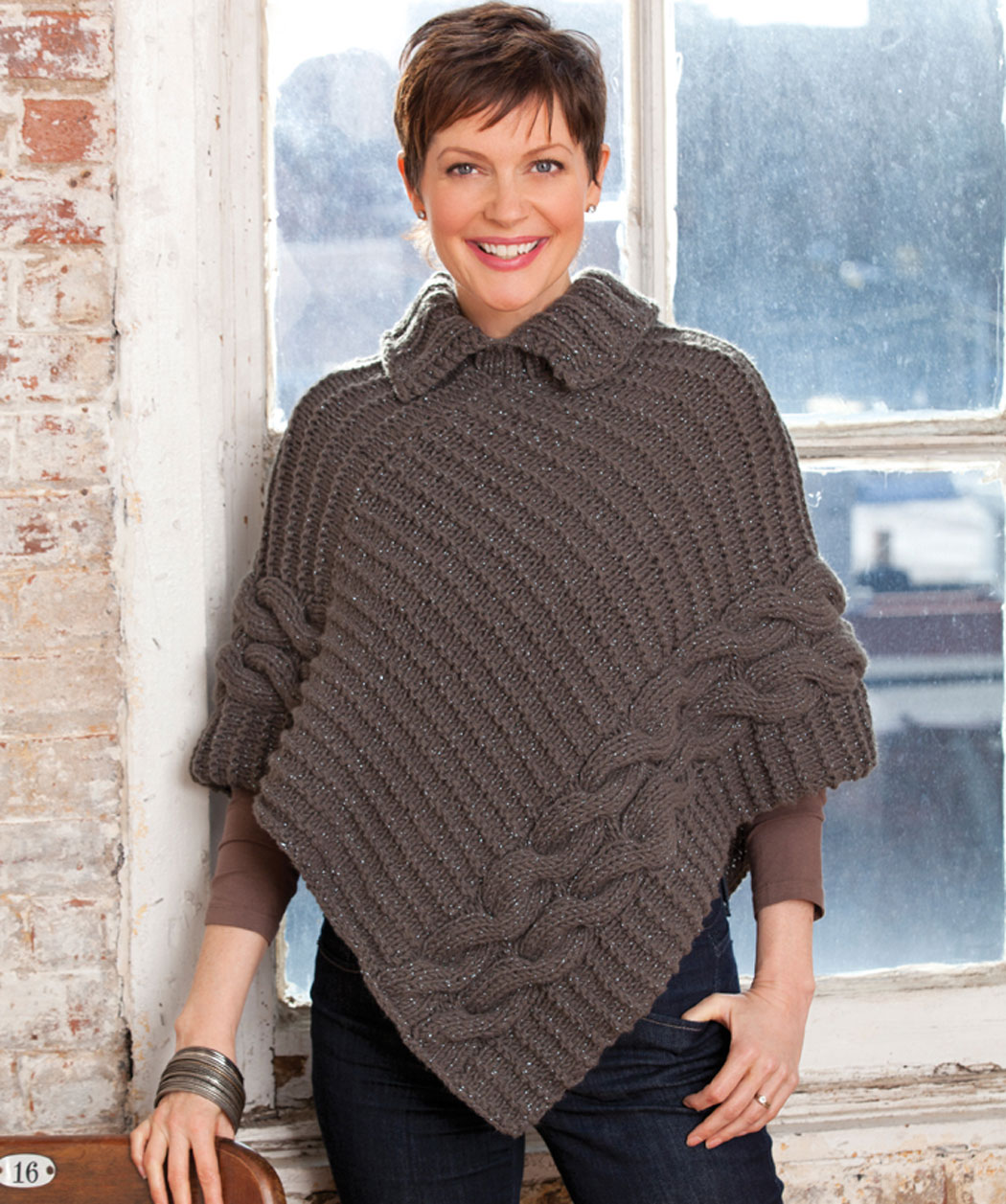 Cabled & Collared Poncho Knitting Pattern