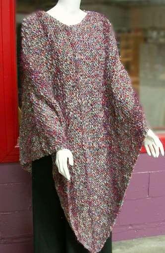 Garter Stitch Side To Side Poncho Knitting Pattern