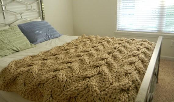Knit Chunky Blanket Pattern Tutorial