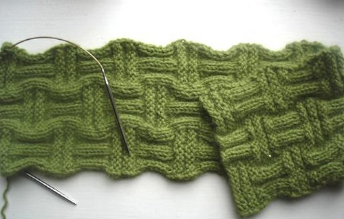 Basket Weave Scarf Knitted Pattern