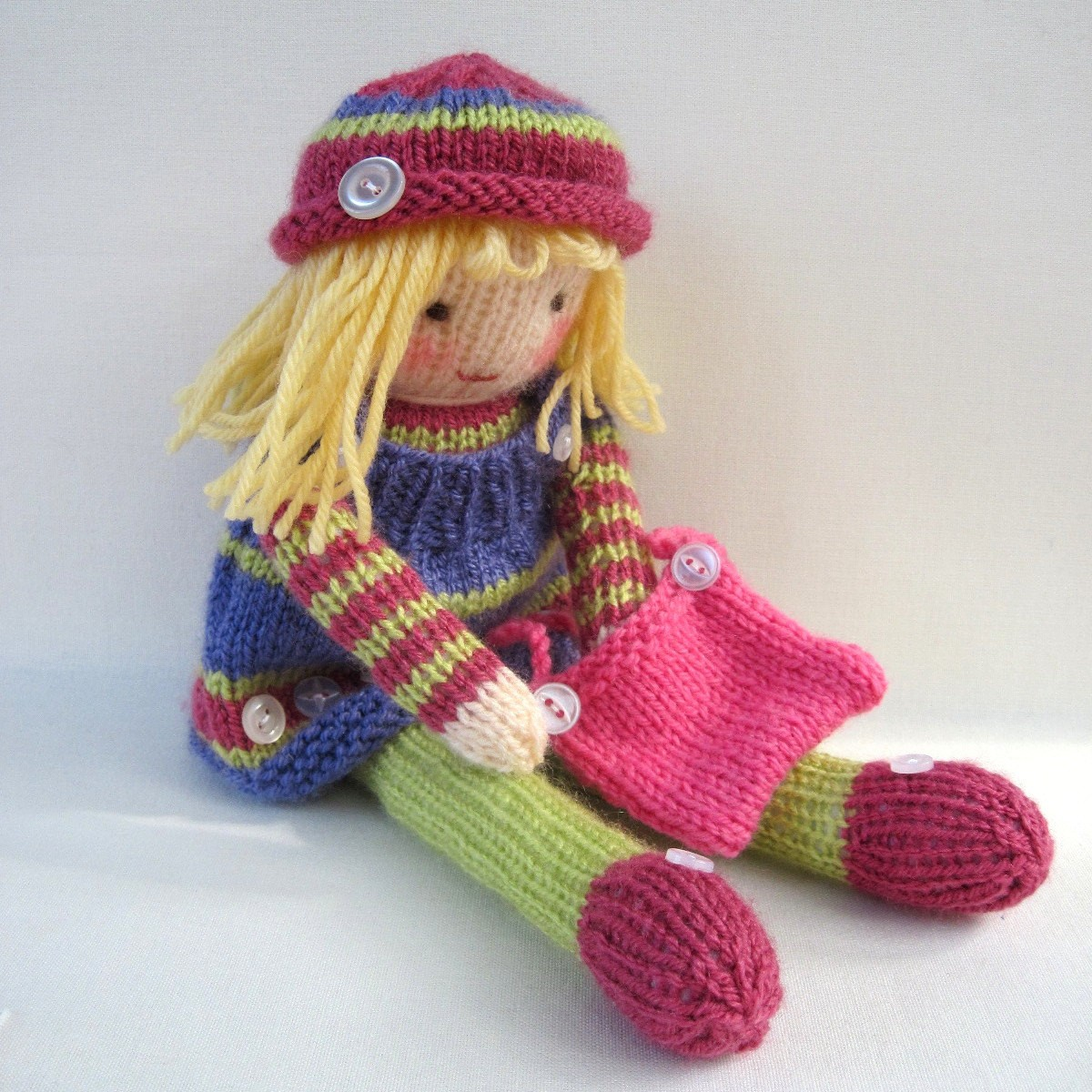 Betsy Button Knitted Doll Pattern