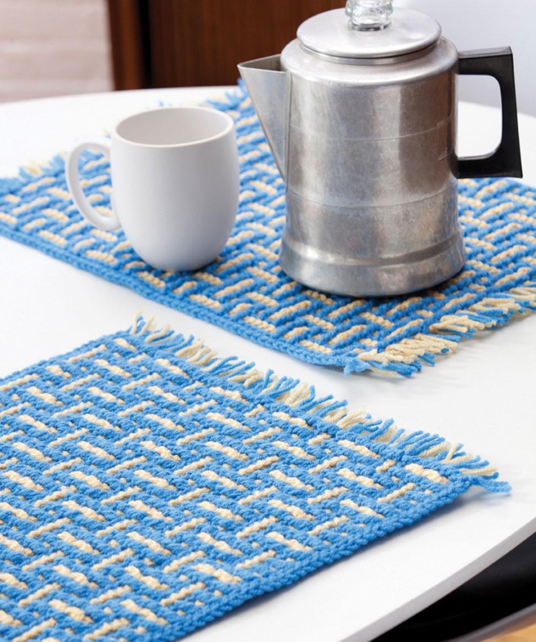 Mosaic Basketweave Placemat Knitting Pattern