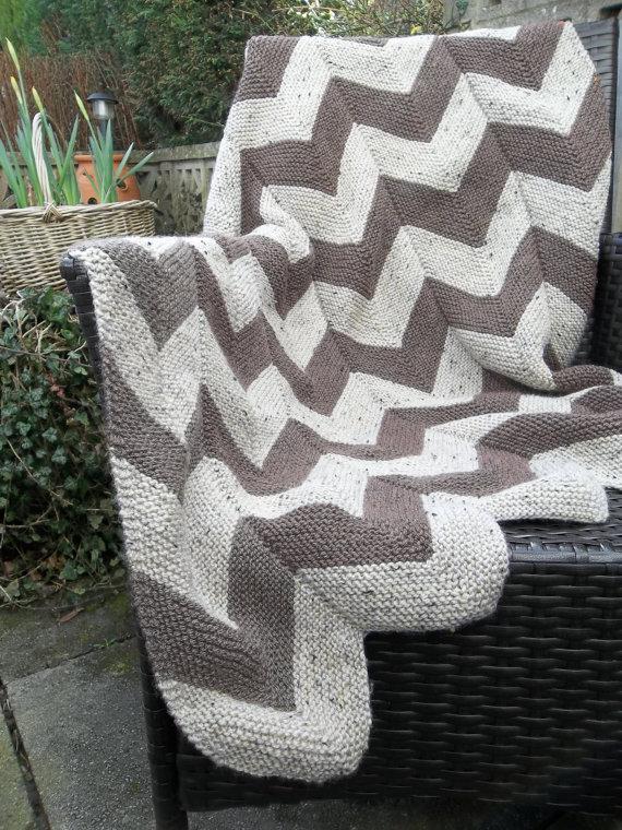 Aran Garter Stitch Chevron Quilt Pattern