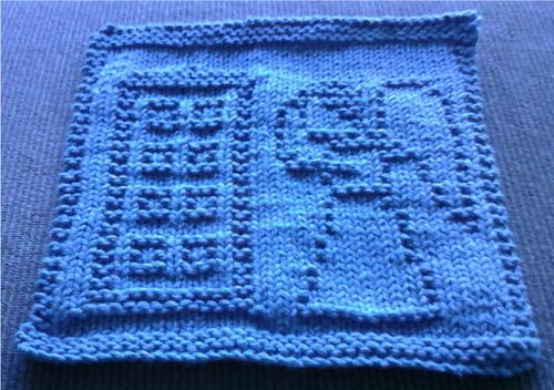 Doctor Who Angels Blue Box Dishcloth Knit Pattern
