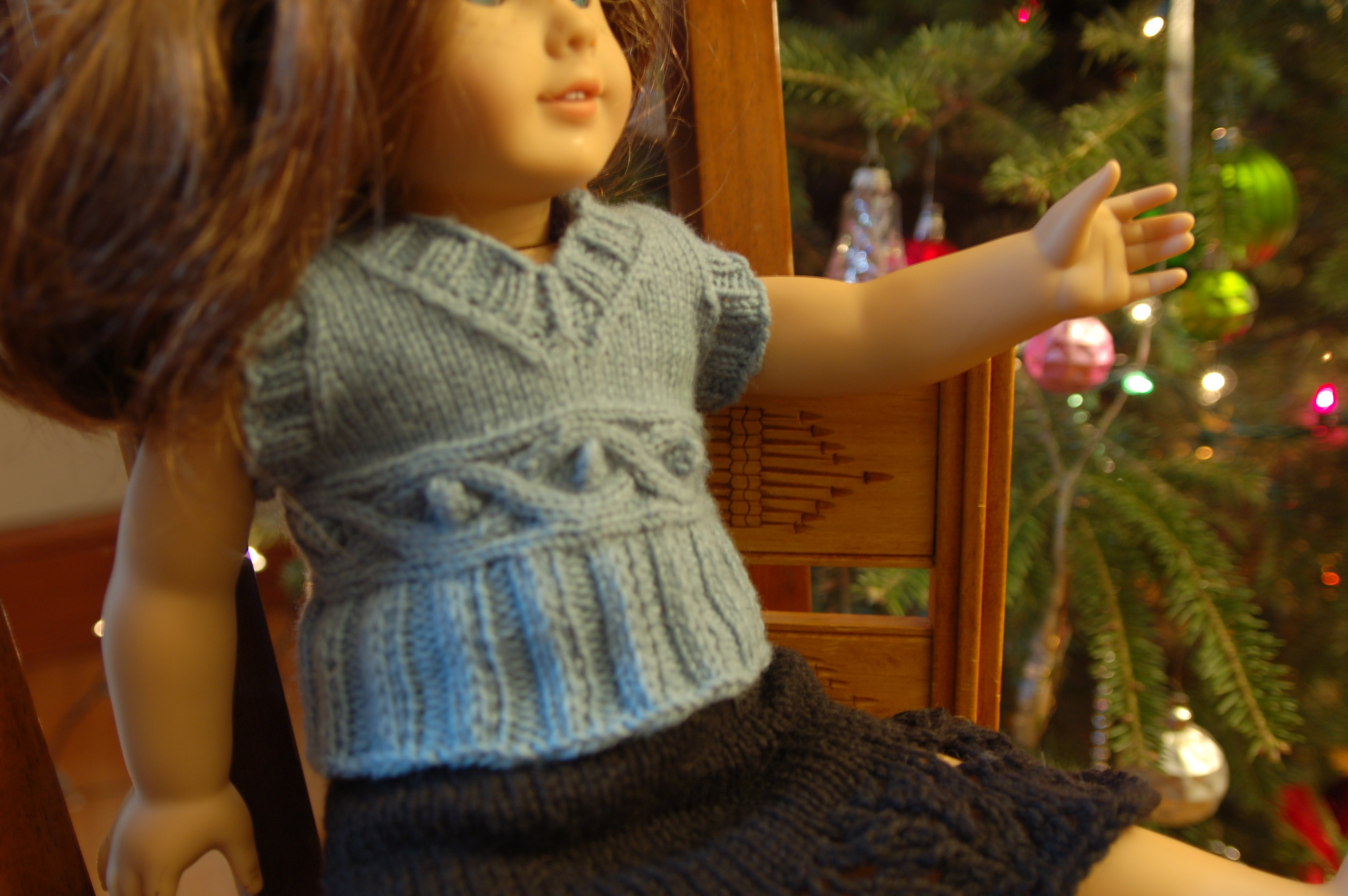 Free American Doll Girl Cabled Knitting Pattern