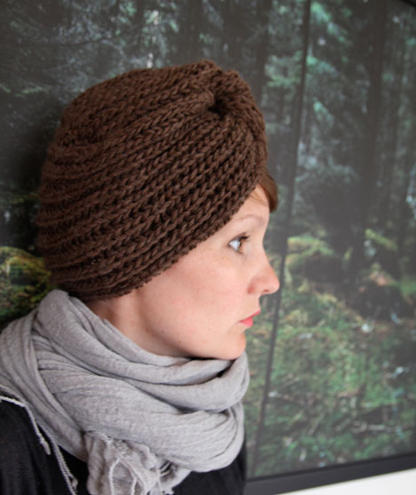 Free Knit Winter Turban Pattern