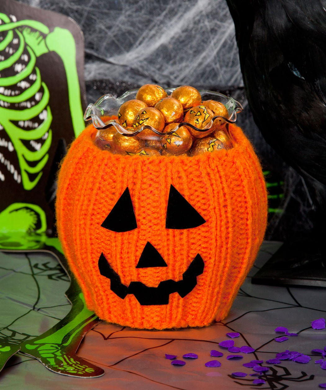 Pictures of Halloween Pumpkin Bowl Knitting Pattern