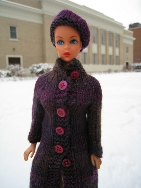 High Collar Coat Barbie Knitting Pattern