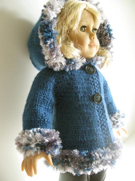 Hooded American Doll Jacket Knitting Pattern