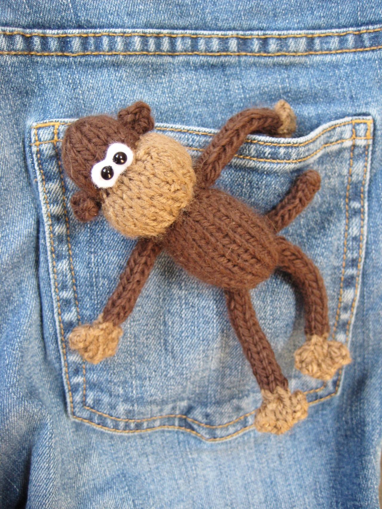 Pocket Monkey Toy Knitting Pattern