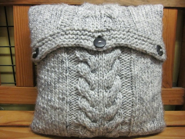 Cabled Knitted Cushion Cover Pattern