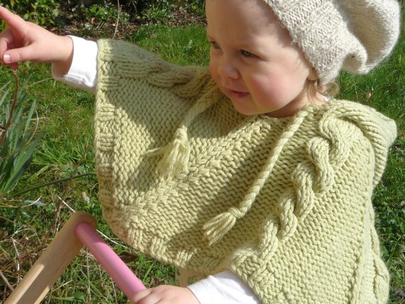 Cabled Poncho Baby Knitting Pattern