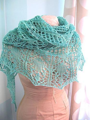 Glam Shells Lace Shawl Knitting Pattern