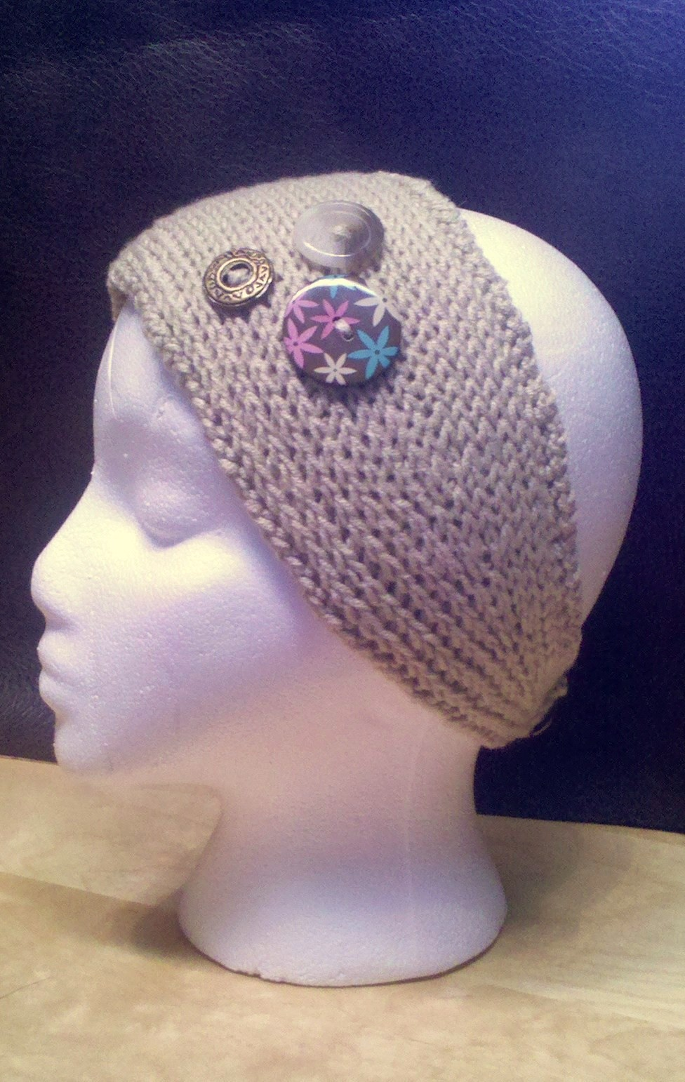 Headband Knitted Pattern with Button