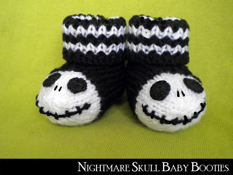 Skull Baby Booties Knitting Pattern