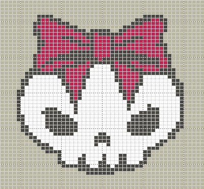 Pictures of Skull with Reb Bow Knitting Pattern