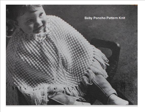 Vintage Knit Baby Poncho Pattern