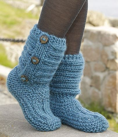 Free Boot Knitted Buttoned Pattern