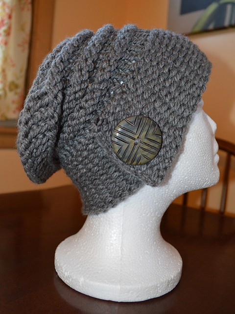 Loom Knit Buttoned Slouchy Hat Patterns