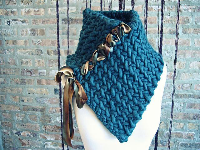 Neck Warmer Herringbone Knitted Pattern