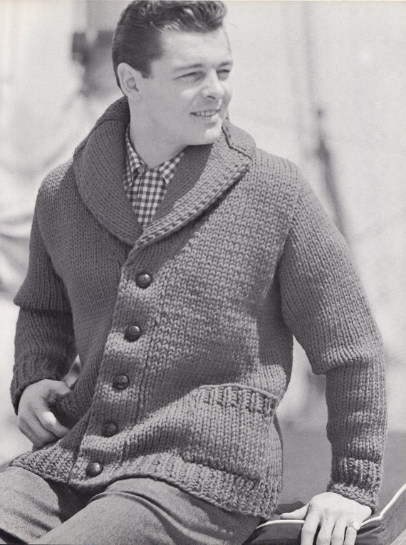 Photos of Shawl Collar Vintage Knitting Pattern